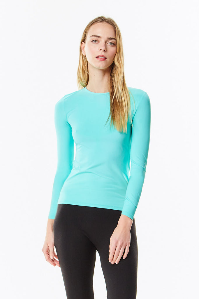 Long Sleeve Aqua Microfiber Layering Shell Top