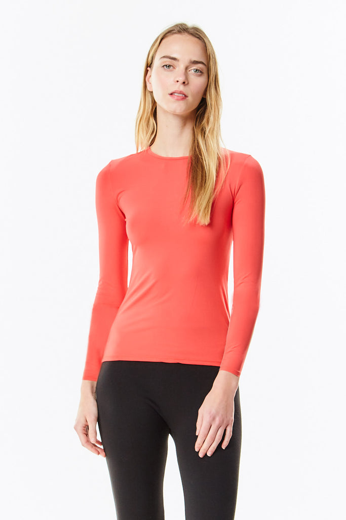 Long Sleeve Microfiber Cayenne Coral Layering Shell Top