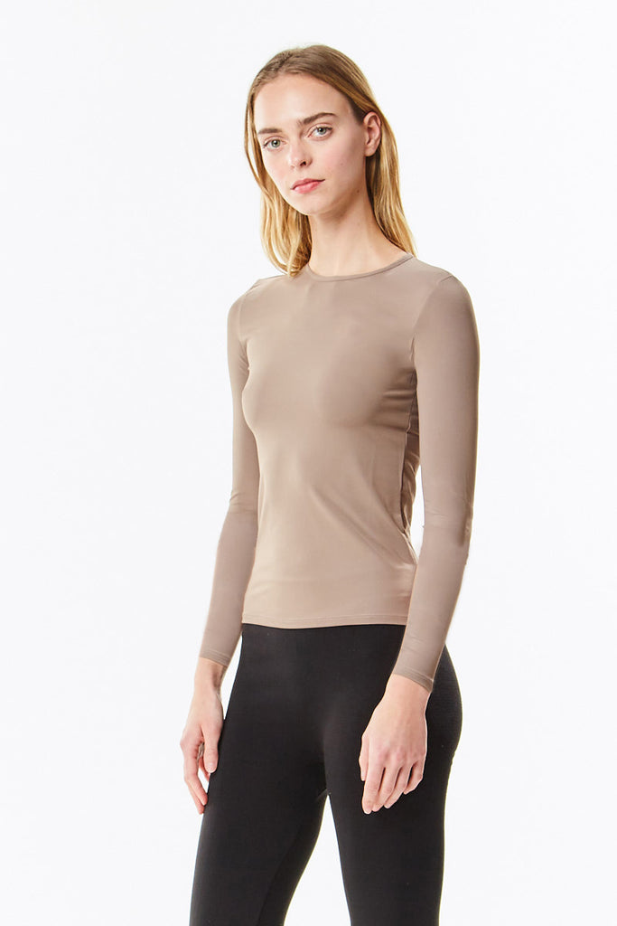 Long Sleeve Microfiber Cognac Layering Shell Top