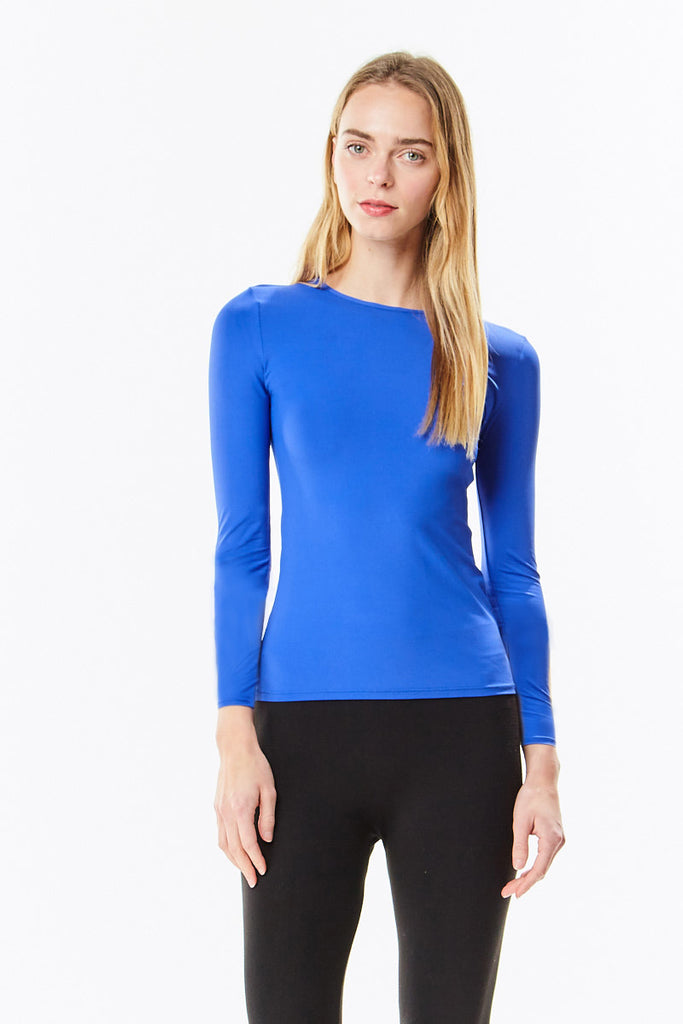 Long Sleeve Microfiber Dazzling Royal Blue Layering Shell Top