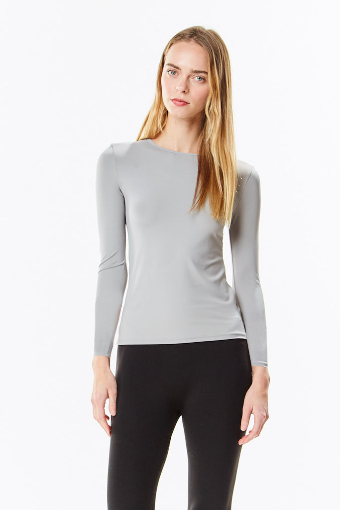 Long Sleeve Paloma Gray Microfiber Layering Shell Top - CHI-CHI NYC