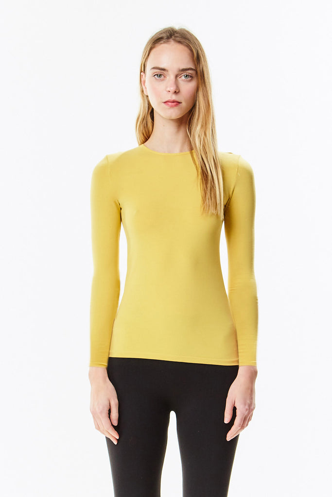 Long Sleeve Cotton Mustard Layering Shell Top