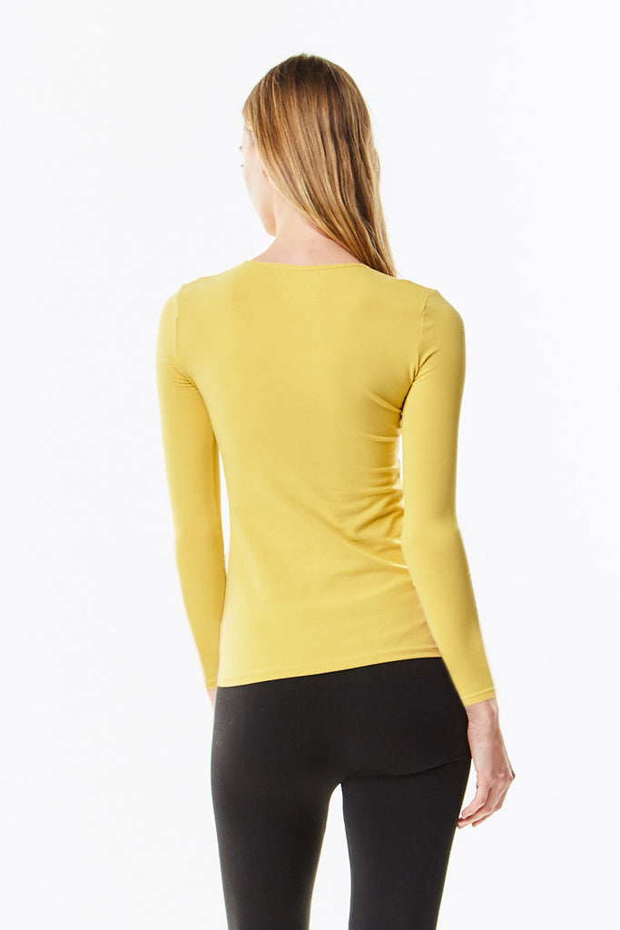 Long Sleeve Mustard Cotton Layering Shell Top