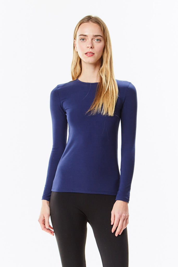 3/4 Sleeve Navy Cotton Layering Shell Top