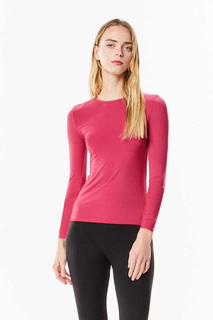 Long Sleeve Sangria Berry Microfiber Layering Shell Top