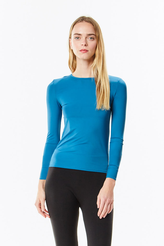 Long Sleeve Teal Cotton Layering Shell Top