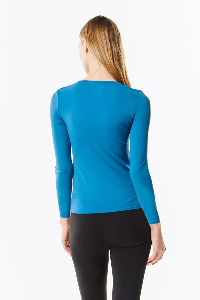 Long Sleeve Teal Microfiber Layering Shell Top