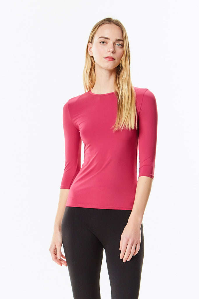 3/4 Sleeve Sangria Berry Microfiber Layering Shell Top
