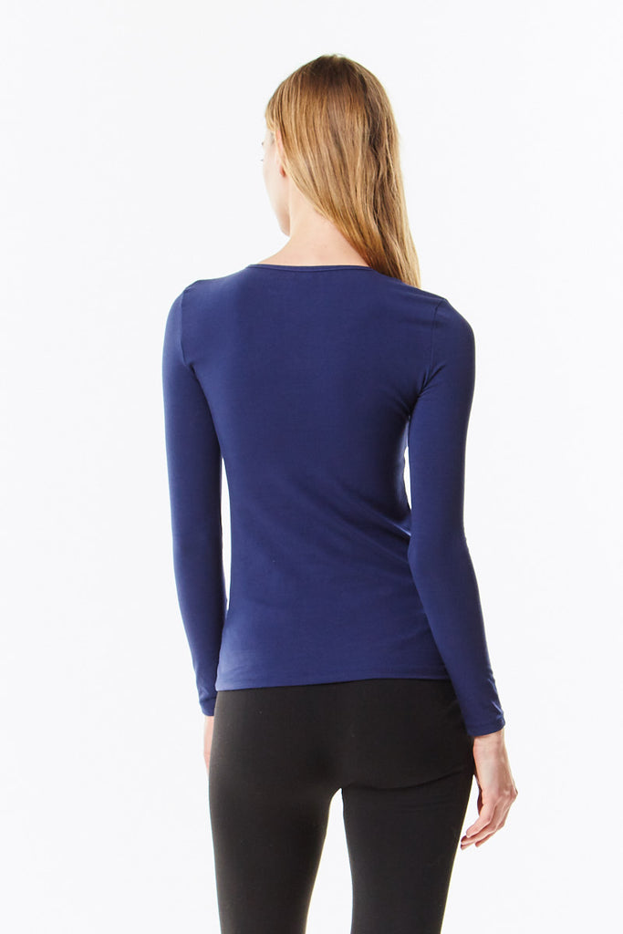 3/4 Sleeve Navy Blue Cotton Layering Shell Top