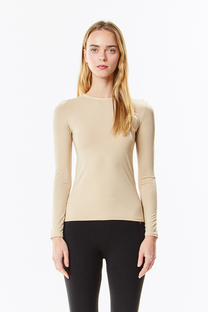 Long Sleeve Nude Microfiber Layering Shell Top