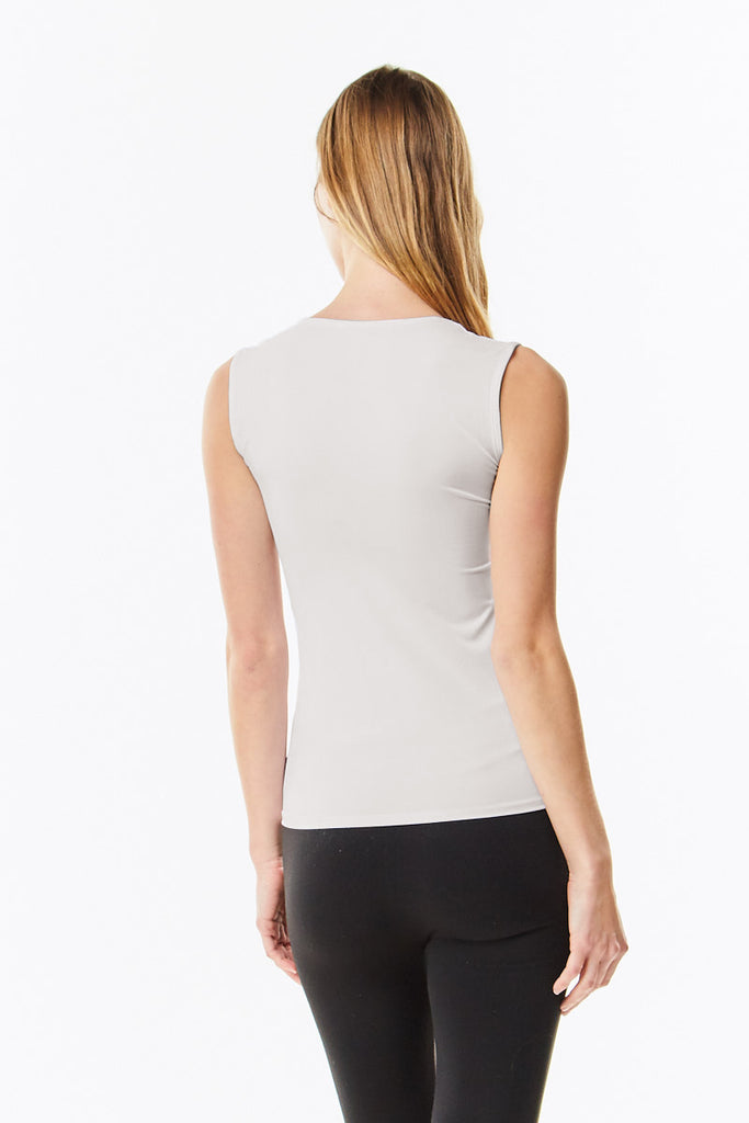 Off White Cotton Sleeveless Layering Shell Top