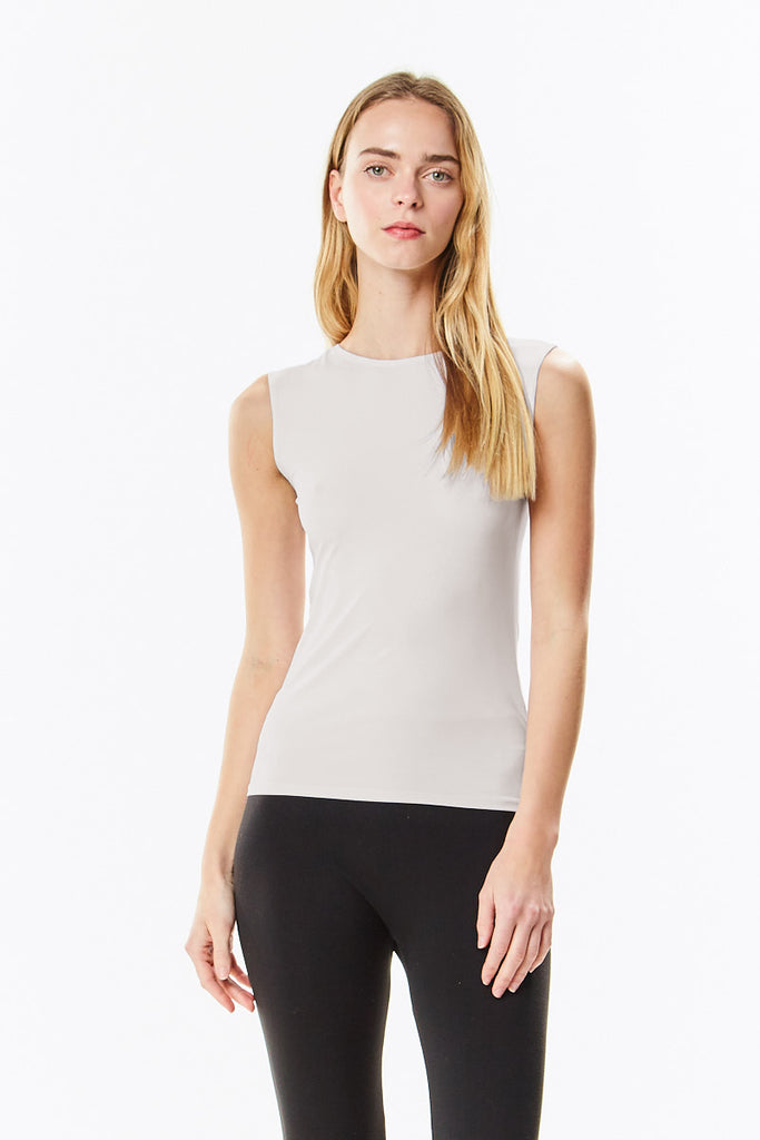 Off White Cotton Sleeveless Layering Shell Top - CHI-CHI NYC