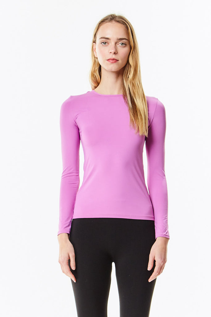 Long Sleeve Microfiber Orchid Layering Shell Top