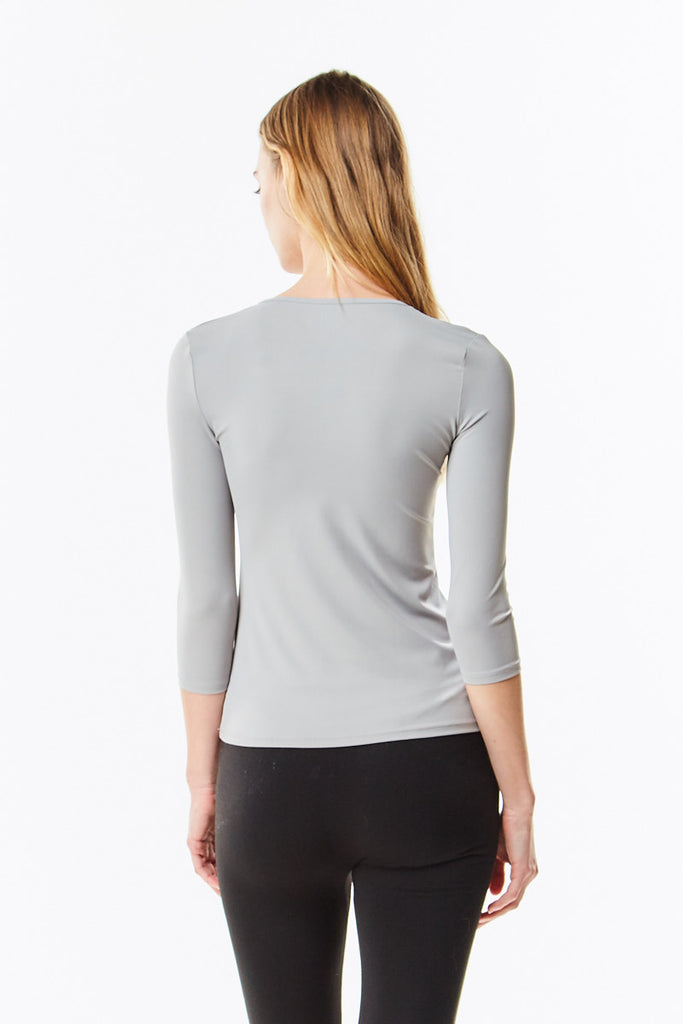 3/4 Sleeve Paloma Grey Microfiber Layering Shell Top