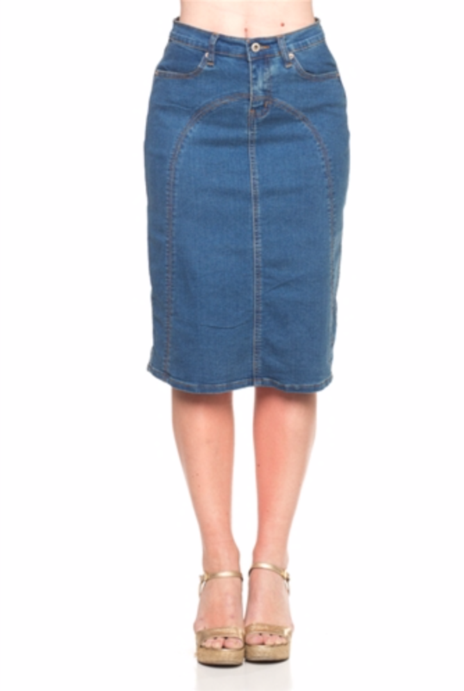 Manuella Denim Pencil Skirt - CHI-CHI NYC
