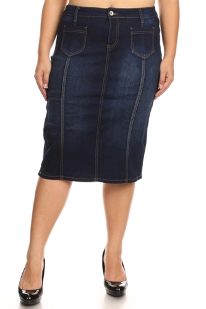 Helena Plus Size Denim Skirt - CHI-CHI NYC