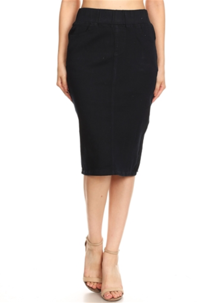 Pauline Dark Denim Pencil Skirt - CHI-CHI NYC