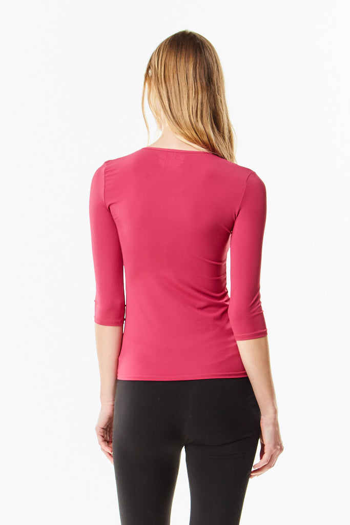 3/4 Sleeve Sangria Berry Microfiber Layering Shell Top - CHI-CHI NYC