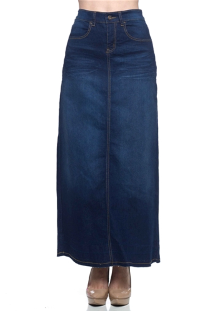 Shantal A-line Maxi Denim Skirt - CHI-CHI NYC