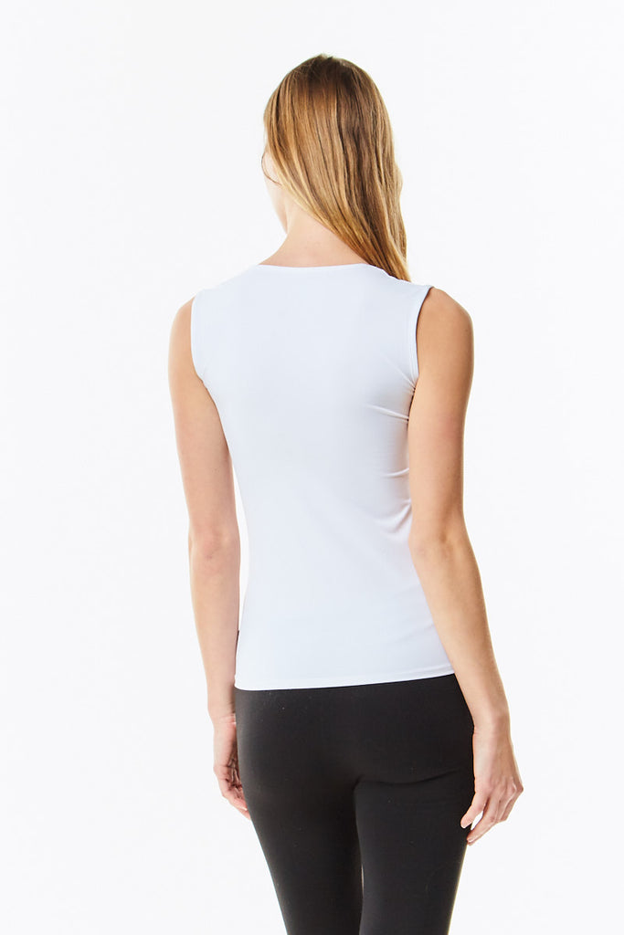 White Microfiber Sleeveless Layering Shell Top - CHI-CHI NYC