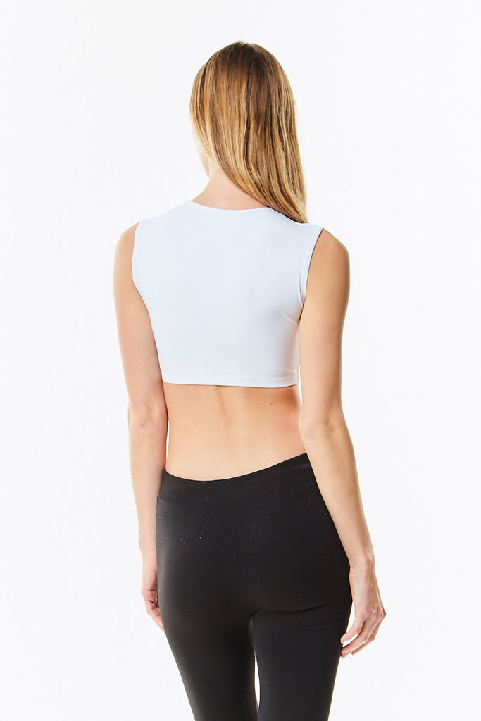 White Microfiber Sleeveless Cropped Layering Shell Top