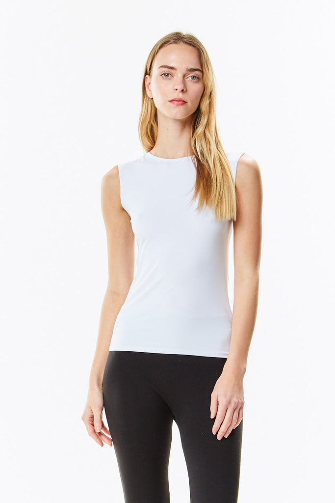 White Cotton Sleeveless Layering Shell Top
