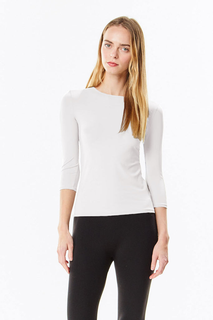 3/4 Sleeve White Microfiber Layering Shell Top
