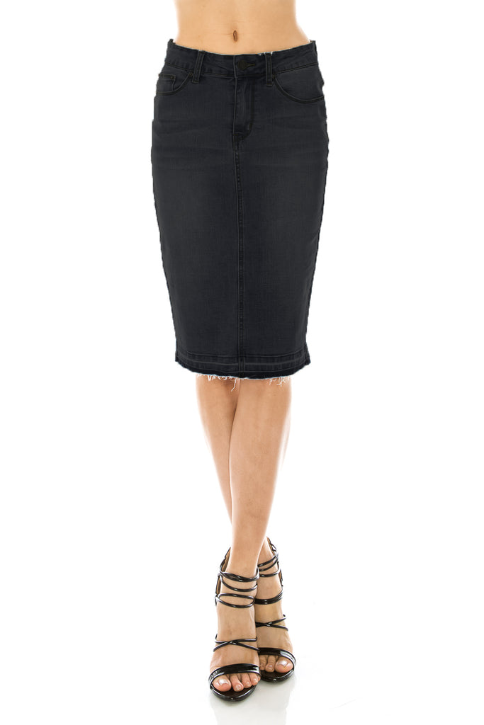 Aine Black Denim Pencil Skirt