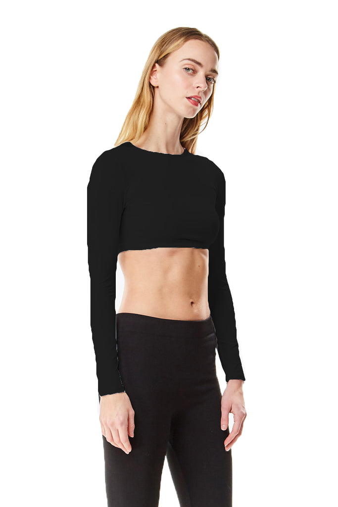 Black Microfiber Long Sleeve Cropped Layering Top Shell