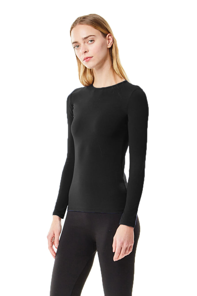 Long Sleeve Black Cotton Layering Shell Top