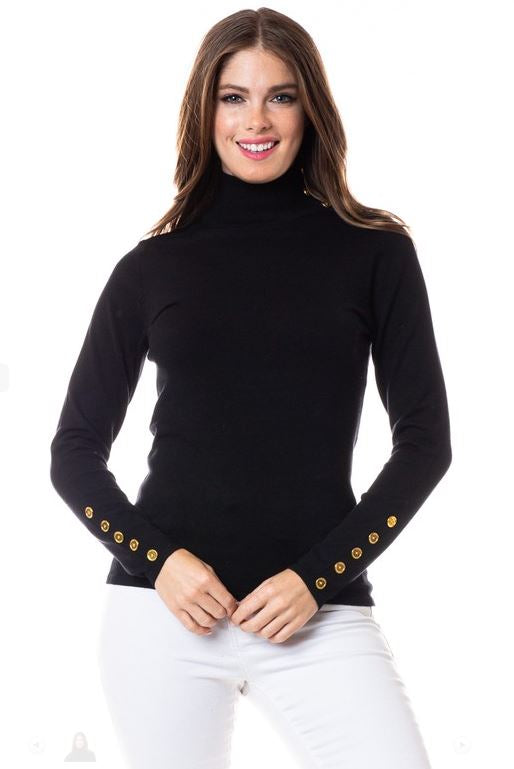 Mock Neck Lightweight Sweater With Golden Button Detail - CHI-CHI NYC