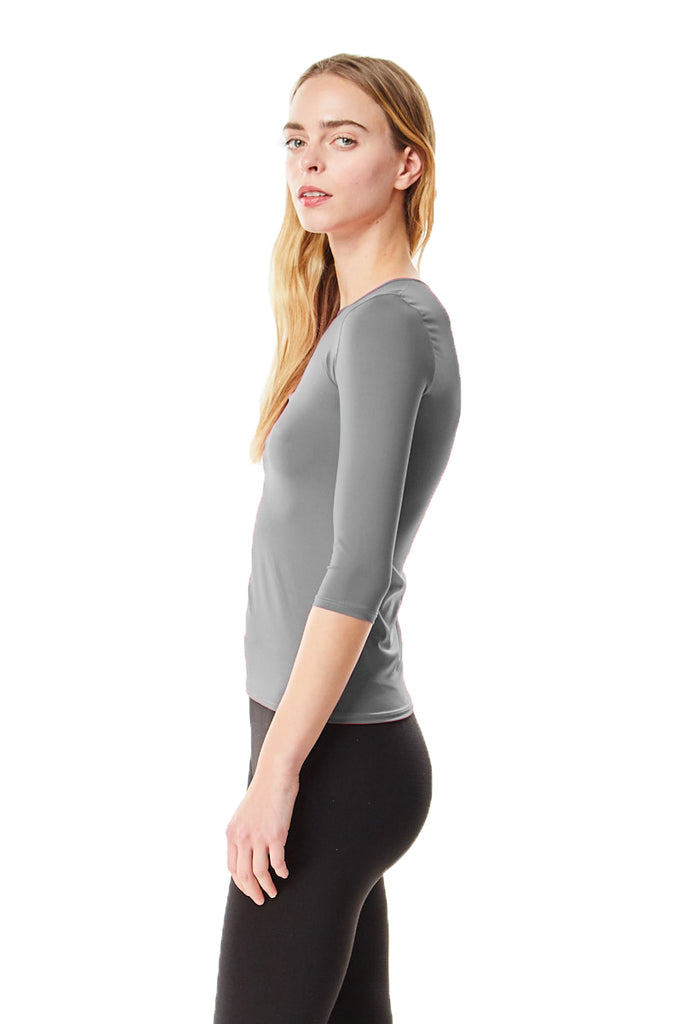 3/4 Sleeve Microfiber Charcoal Layering Shell Top - CHI-CHI NYC
