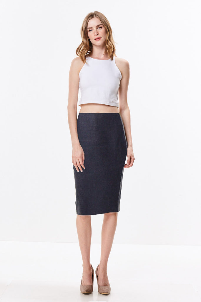 Stretch Woven Light Twill High Waist Straight Knee Length Pencil Skirt 138M - CHI-CHI NYC
