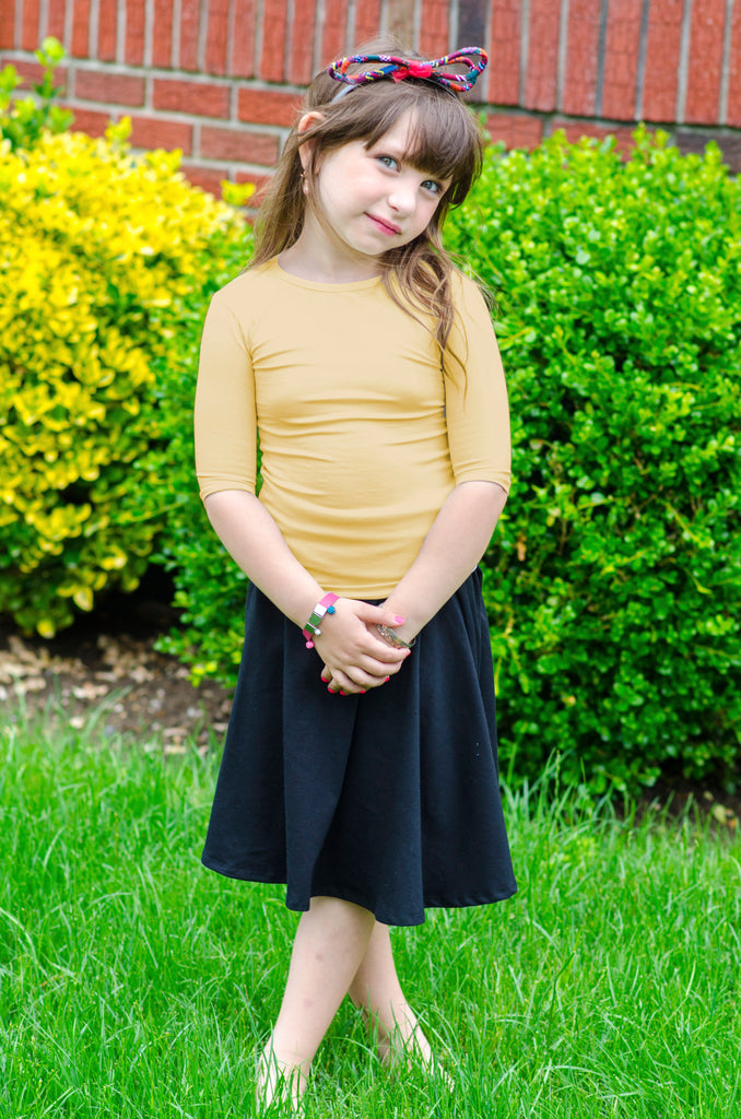 3/4 Sleeve Mustard Muted Yellow Cotton Kids Shell - CHI-CHI NYC