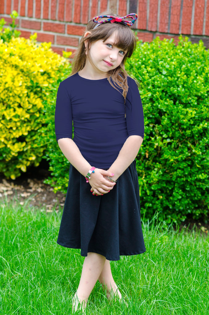3/4 Sleeve Navy Blue Cotton Kids Shell
