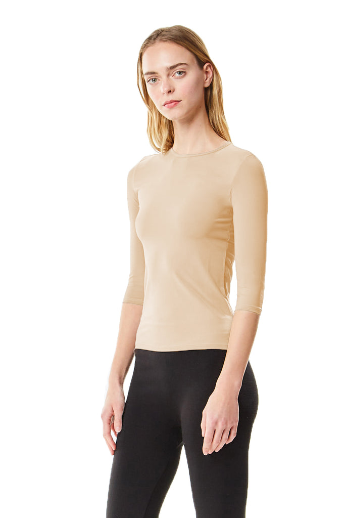 3/4 Sleeve Nude Microfiber Layering Shell Top - CHI-CHI NYC