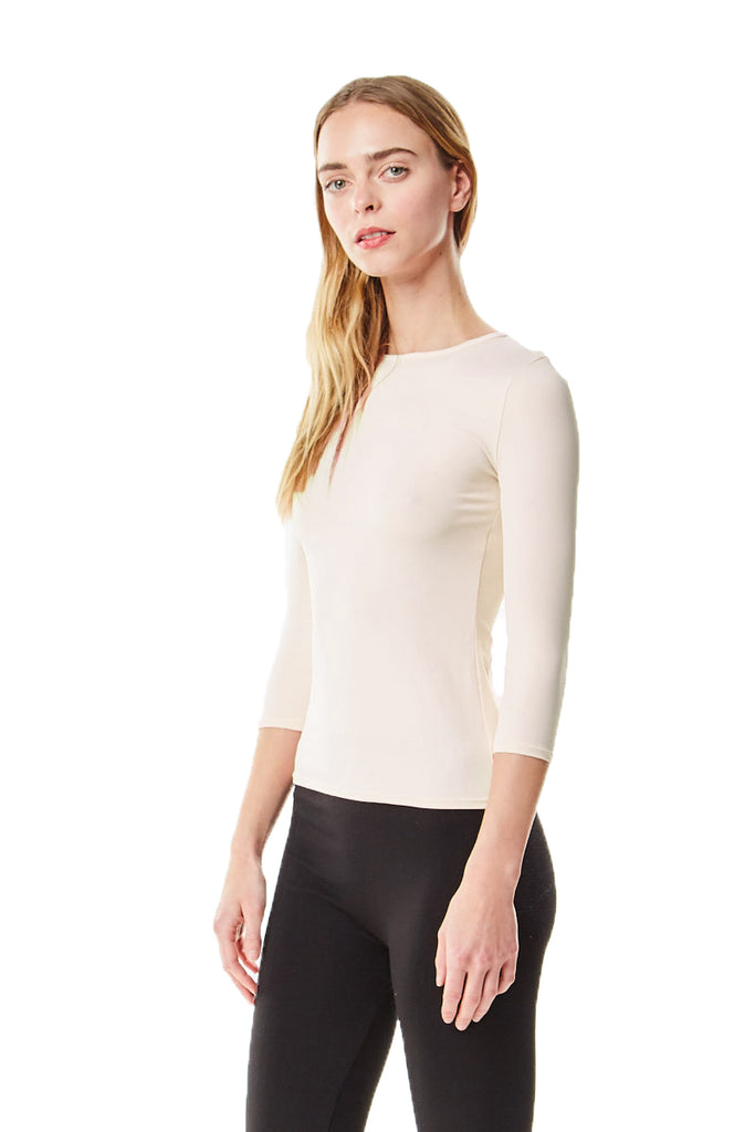 3/4 Sleeve Off White Cotton Layering Shell Top