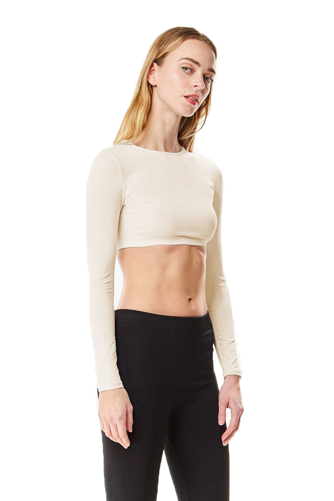 Off White Microfiber Long Sleeve Cropped Layering Top Shell