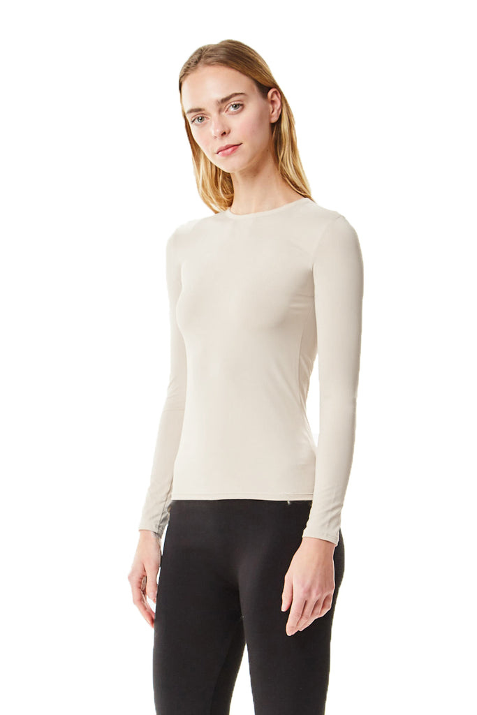 Long Sleeve Off White Microfiber Layering Shell Top