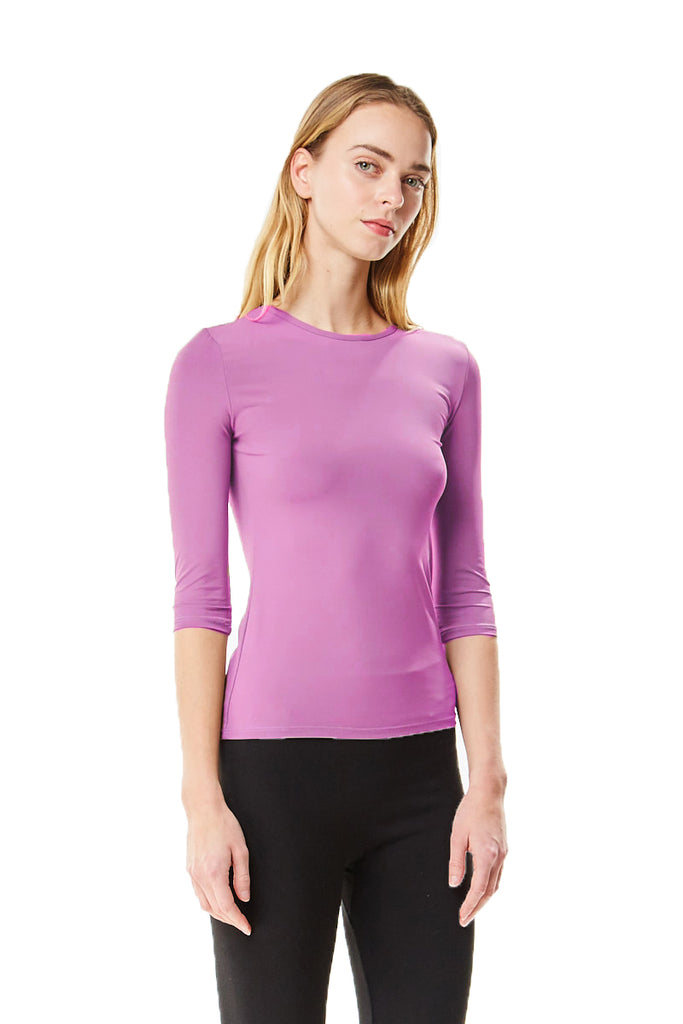 3/4 Sleeve Microfiber Orchid Layering Shell Top - CHI-CHI NYC