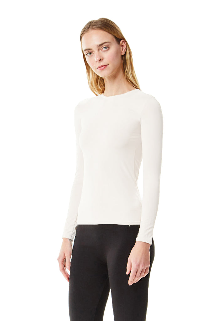 Long Sleeve White Microfiber Layering Shell Top