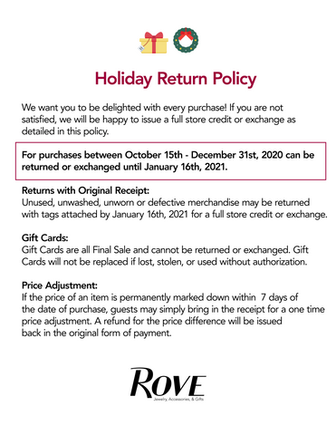 Rove Holiday Return Policy