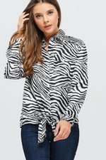 Zebra Print Front Tie Collared Shirt