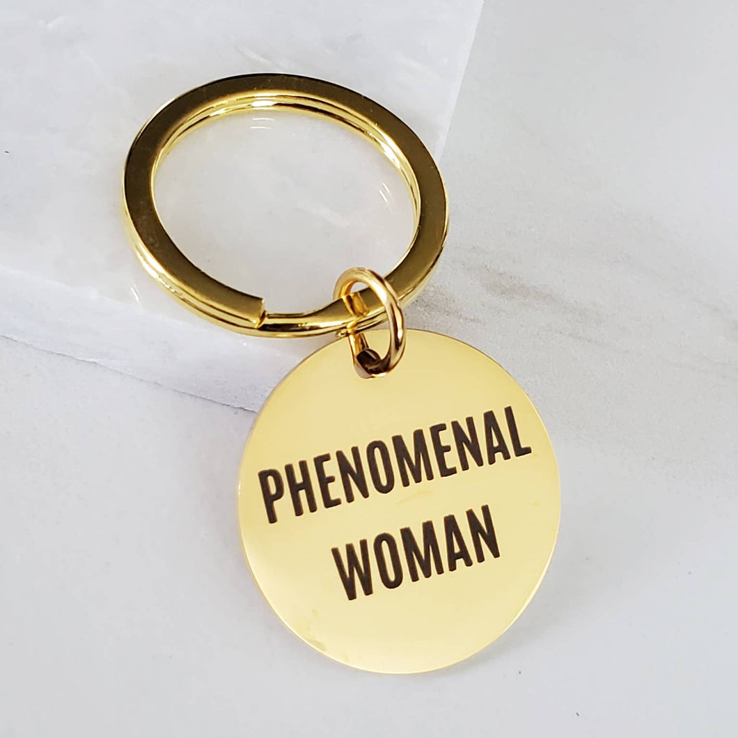 Phenomenal Woman Empowering Message Gold Key Fob