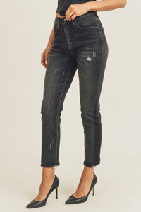 Black Vintage Relaxed Fit Slim Straight Jeans