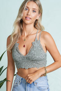 Olive Crochet Lace Bralette with Bra pads