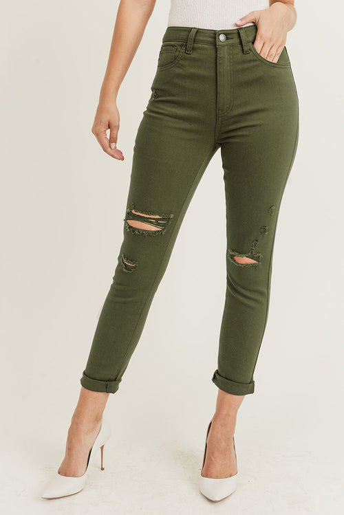 Olive Distressed Relaxed Skinny Jeans