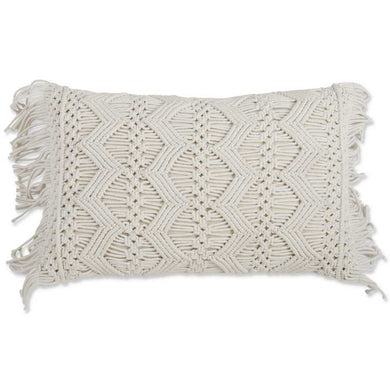 Small Cream Rectangle Macrame Pillow with Fringe