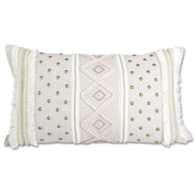Load image into Gallery viewer, Rectangular Cream Pillow with Buttons & Criss Cross Pattern