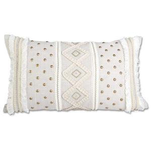 Rectangular Cream Pillow with Buttons & Criss Cross Pattern